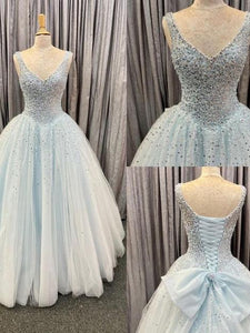 Princess Light Blue Tulle Ball Gown prom dress,DR2800