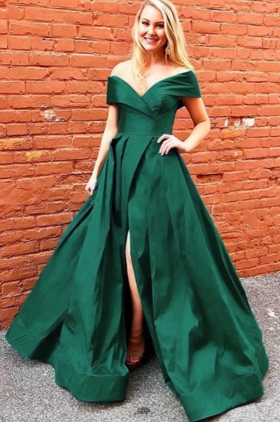 Off the Shoulder Green Long Prom Dress with Side Slit ,DR2803