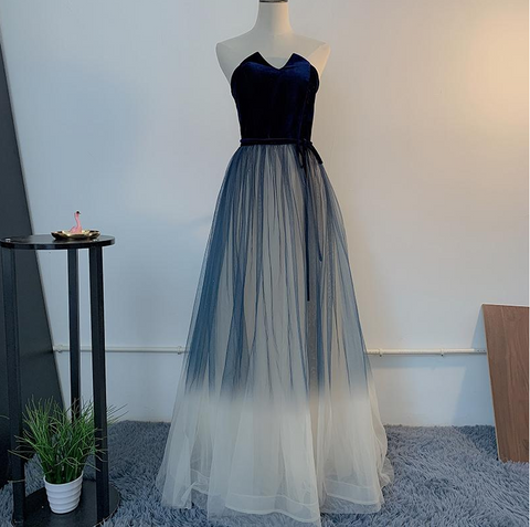 Unique Navy Blue Gradient Tulle With Velvet Top Prom Dress, Tulle Long Party Dress Formal Dress ,DR2804