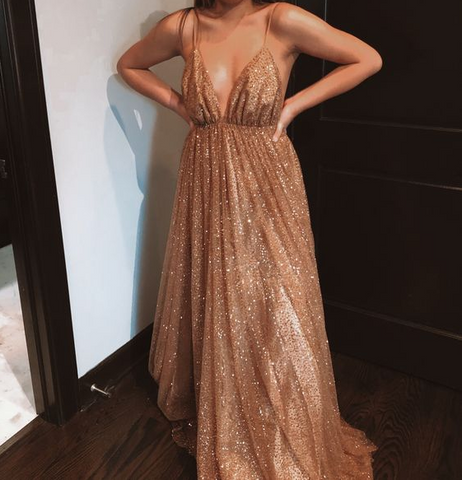 Champagne V-Neck Backless Glitter Tulle Long Formal prom Dress ,DR2809