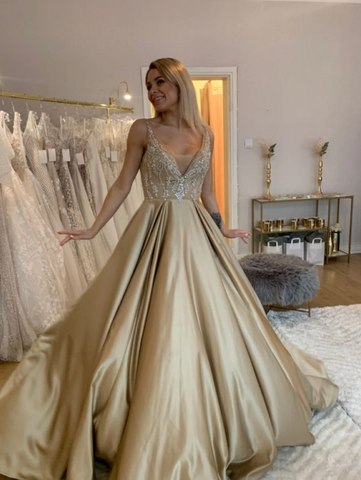 Elegant V Neck Long Satin Prom Dresses Gold Formal Gown With Lace.DR2811