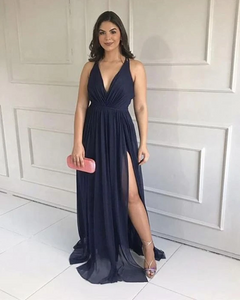 DEEP V NECK HIGH SLIT BRIDESMAID DRESSES CHIFFON PROM DRESS.DR2812