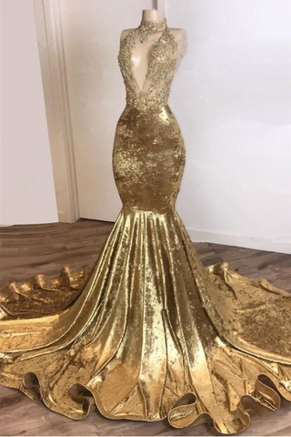 Halter Backless Gold Prom Dresses Cheap with Beads Appliques | Mermaid Velvet Sexy Evening Gowns  ,DR2829