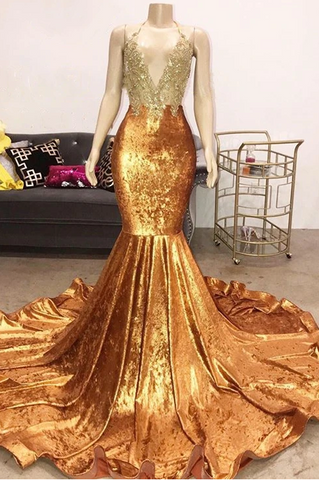 Luxury Beads Appliques Gold Prom Dresses| Mermaid Open Back Sexy Evening Gowns Cheap,DR2831