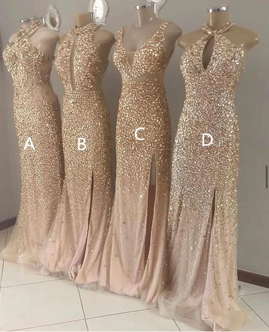 Sparkly Gold Prom Dresses, Long Prom Dress, Prom dress,DR2834