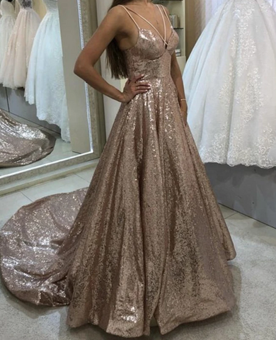 rose gold sequins prom dresses cross neck evening gowns ,DR2847