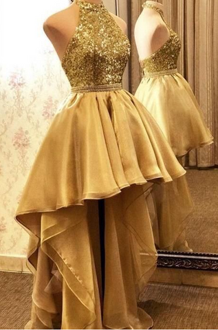 High-low Halter Prom Dresses Gold Backless Evening Party Gowns ,DR2849