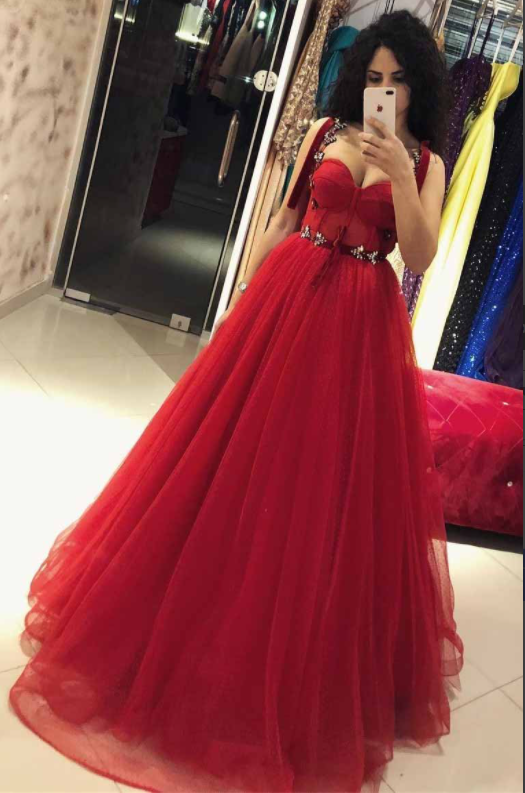 Chic Straps Red Ball Gown Bow Beaded Tulle Long Prom Dress,DR2987