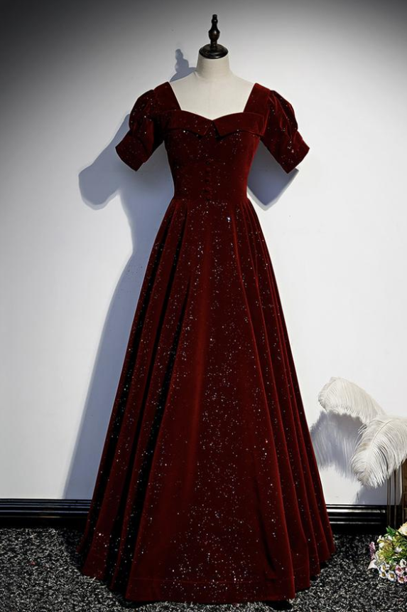 Burgundy velvet long prom dress simple evening dress,DR3086