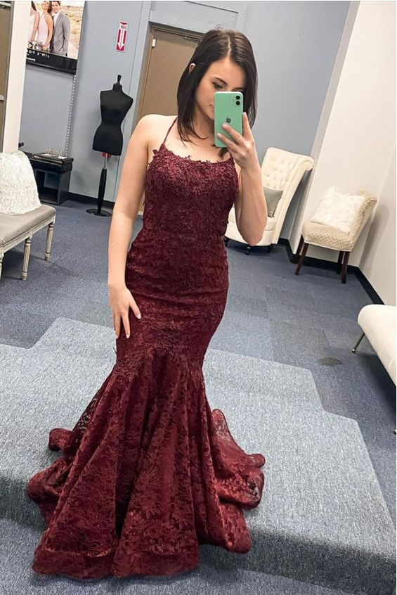 mermaid burgundy lace long prom dress formal dress,DR3087