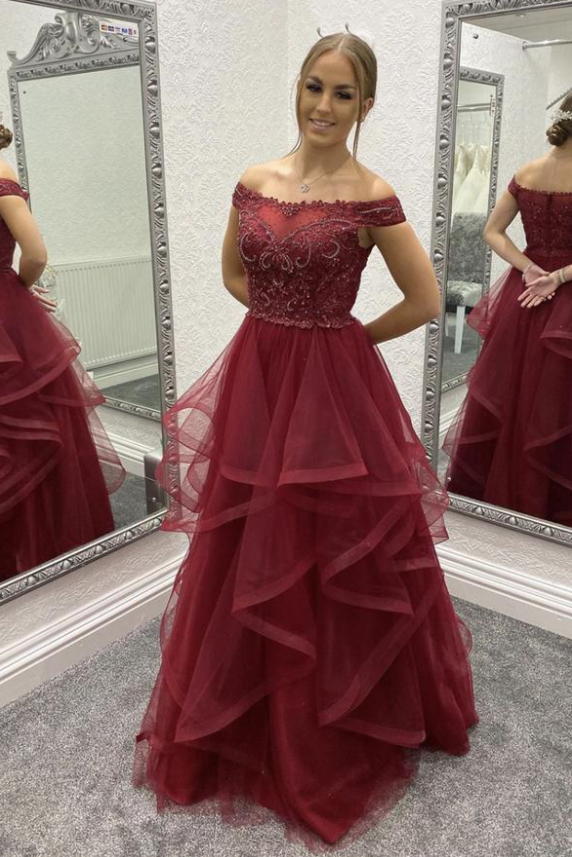 Burgundy lace long prom dress A line evening dress ,DR3090