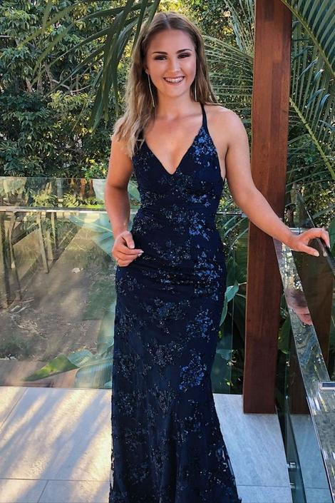 elegant mermaid navy blue sequined long formal dress prom dress 2021,DR3183