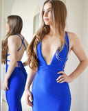 Hot Sexy Mermaid Deep V Neck Royal Blue Long Prom/Evening Dress,DR3695