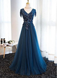 Navy blue tulle long V neck cap sleeve evening dress with lace applique,DR3697