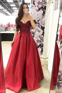 Burgundy Lace Bodice Satin Long Prom Dress, Off-Shoulder Evening Dress,DR3941