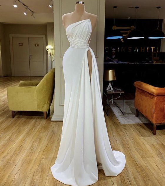 white simple evening dresses long cheap elegant modest mermaid sexy formal party Prom Dresses,DR3975