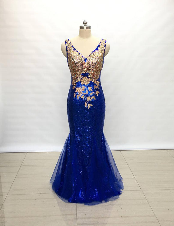 Mermaid V-Neck Royal Blue Sequin Tulle Long Prom Dress with Lace Appliques,DR4042