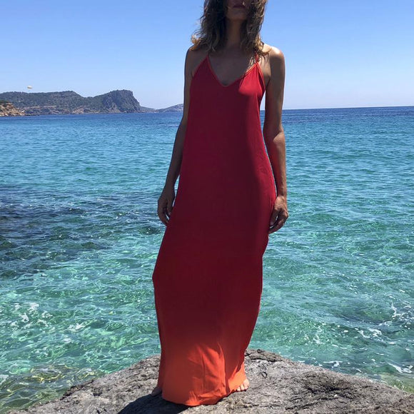 Red backless maxi dress, Open back sleeveless long dress, Summer red dress, Holiday maxi dress, Reversible elegant dress, Fresh long dress,DR4049
