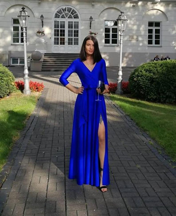 Long formal evening dress, royal blue luxurious dress, prom dress, bridesmaide dress, wedding guest dresses,DR4124