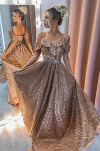 Gold Sparkly Prom Long Dresses 2021 Off The Shoulder Formal Evening Gowns,DR4129
