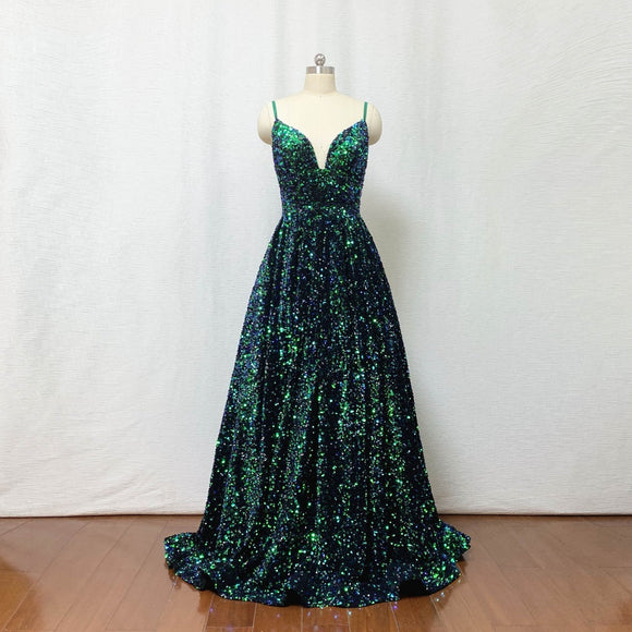 Sequin Prom Dress 2021 Ball Gown Forest Green Long Evening Dress,DR4418