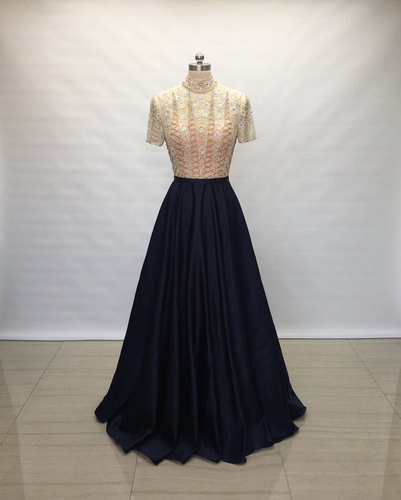 Modest Sweetheart Navy Blue Satin Long Prom Dress Short Sleeves,DR4422