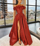 Long red off shoulder glittery dress with slit, women's prom gowns, red evening dress, wedding reception dress, African prom gown,DR4428