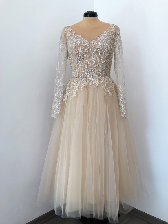 Champagne tulle midi dress, applique rhinestone embellished dress, beaded tulle dress, gold prom lace dress,DR4431