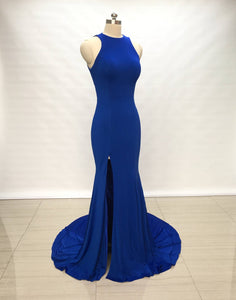 Mermaid Royal Blue Spandex Long Prom Dress with Slit,DR4437