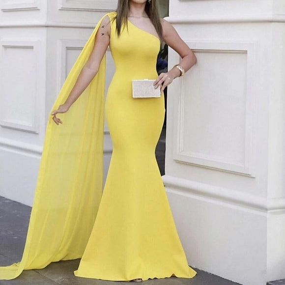 One shoulder Bodycon Floor length Evening Party prom long train back bridesmaid Yellow maxi Dress,DR4444