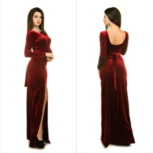 Velvet bridesmaid dress, Burgundy velvet dress, Prom dress long, Wedding guest dress, Long sleeve velvet evening gown,DR4445