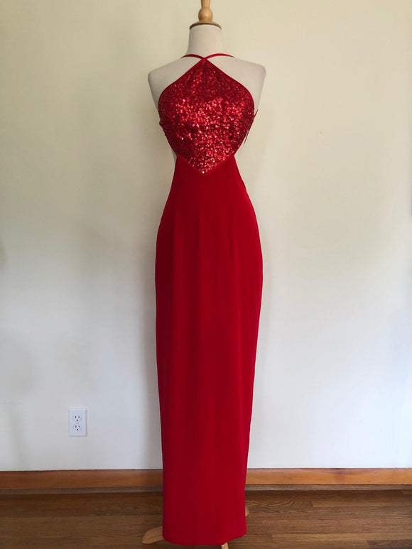 Vintage red sequin long dress/gown/maxi/prom,DR4448