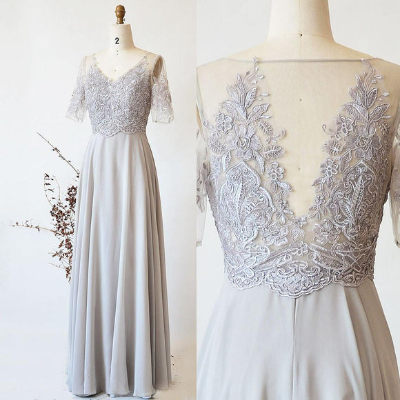 Grey Long Bridesmaid Dress, Half Sleeve Silver Chiffon Dress Lace Wedding Party Dress, A Line Prom Dress Floor Length Maxi Dress,DR4451
