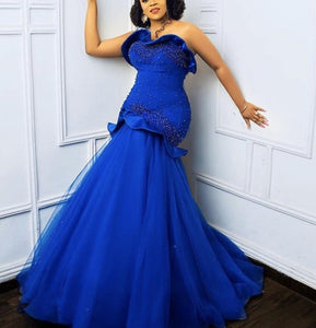 Embroidered Sweetheart top tulle bottom blue wedding mermaid dress,prom dresses,African wedding and prom dress,engagement dress.DR4456