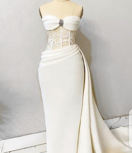 Strapless Wedding dresses, bridal gowns,African prom and wedding party dress.DR4462