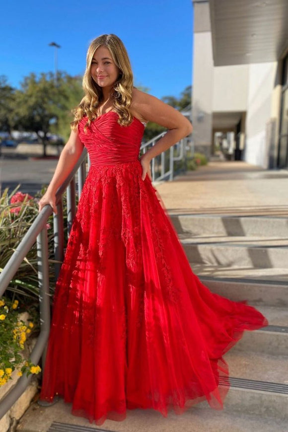 RED SWEETHEART NECK TULLE LACE LONG PROM DRESS RED FORMAL DRESS,DR4530