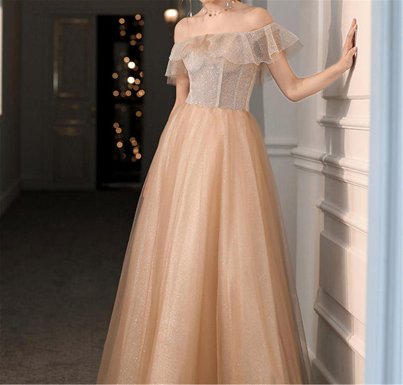 Off Shoulder Tulle Prom Dress,Champagne Prom Dresses,A-line Evening Dress,Party Dress,Formal Dress,Glitter,Prom Dress Long,Evening Gown,DR4533