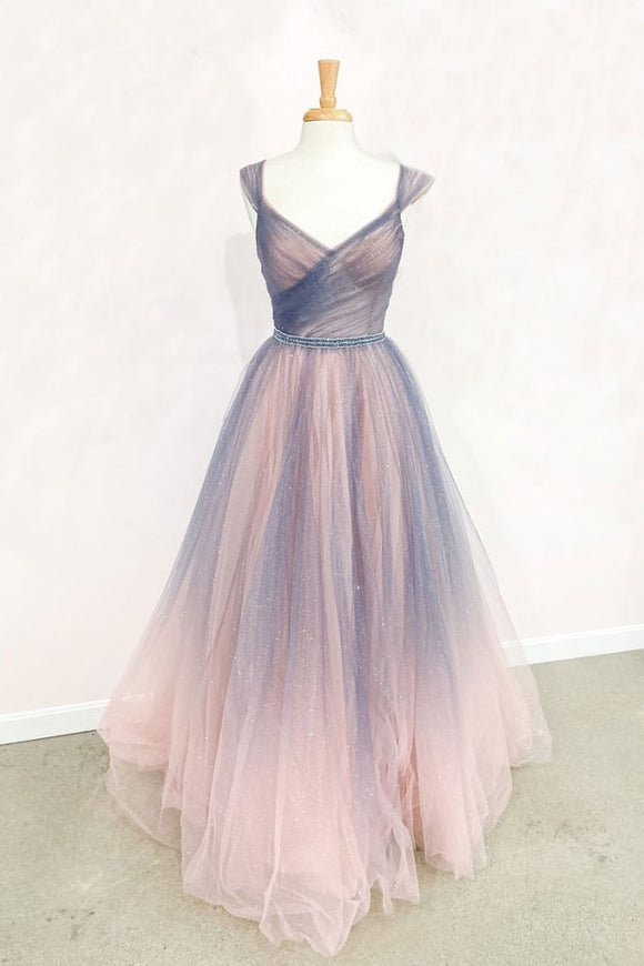 CHAMPAGNE TULLE LONG PROM DRESS TULLE LONG EVENING DRESS,DR4535