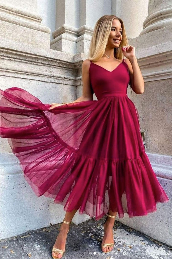 SIMPLE BURGUNDY V NECK TULLE PROM DRESS BURGUNDY EVENING DRESS,DR4540