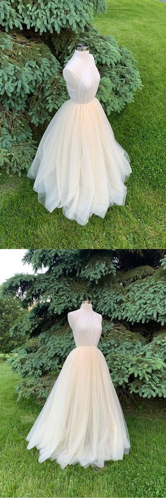 LIGHT CHAMPAGNE TULLE LONG PROM DRESS CHAMPAGNE FORMAL DRESS,DR4549