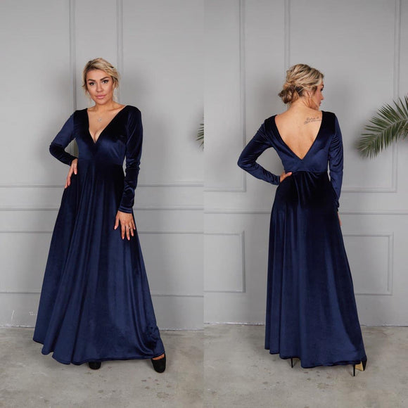 Navy Blue Velvet Dress, V-Neck Velvet Dress, Party Maxi Dress, Bridesmaid Deep Back Gown, Velvet Bridesmaid Dress, A-line Velvet Dress,DR4552