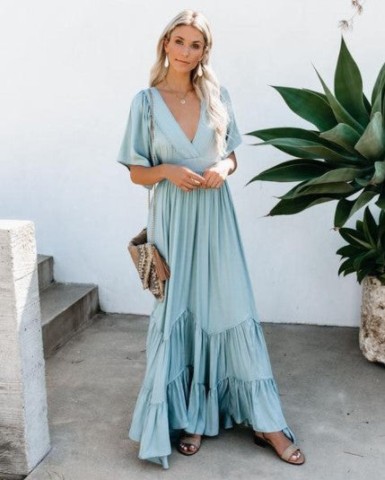 V Neck Flare Sleeve Sleeve Long Dress,DR4555