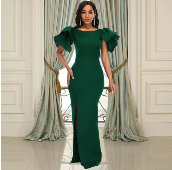 Elegant Ruffled Green Party Dress with Belt,DR4557
