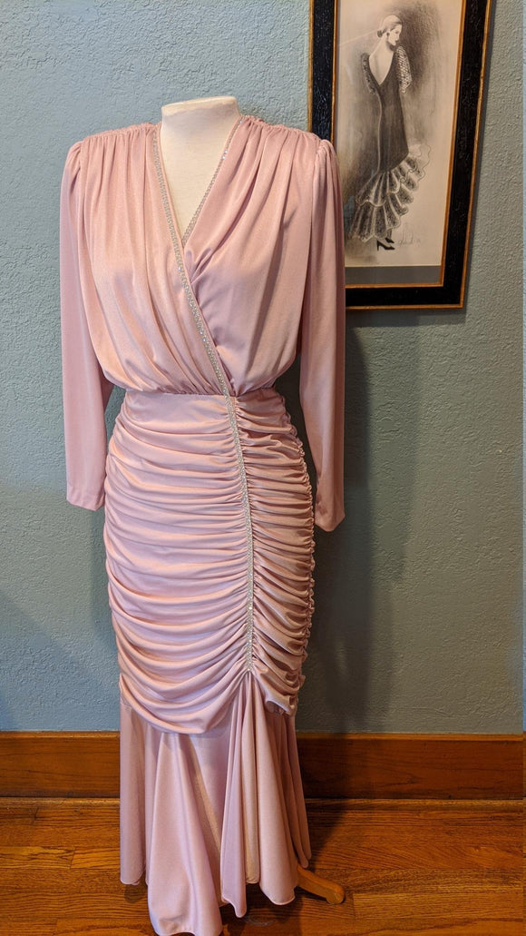 80's Ruched Rhinestone Long Evening Dress Light Pink Wiggle Dress Tight folds gathered around Shoulders and Hips,DR4560