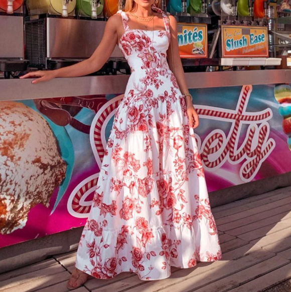 Floral Boho Summer Maxi Dress,DR4560