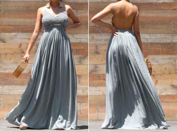 Sage Lace Dress Maxi Long Evening Wedding Cocktail Prom Backless Open Back Dress.DR4572