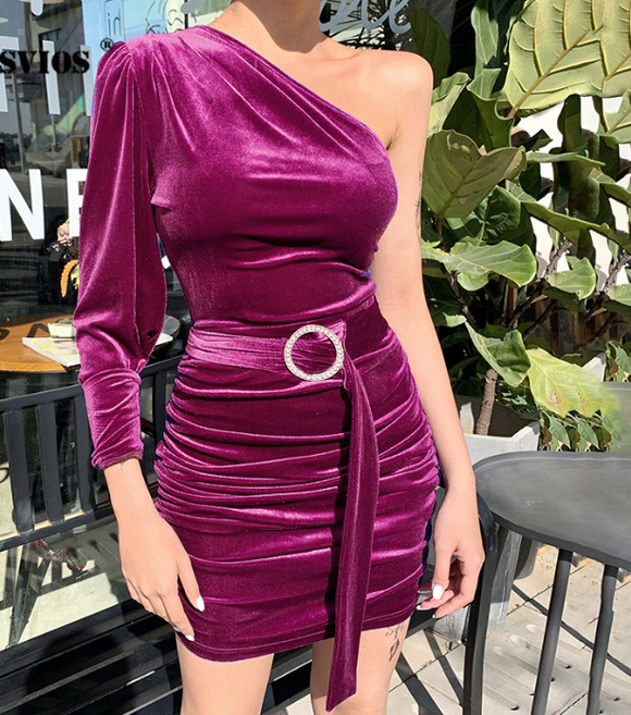 Sexy Puff Sleeve Velvet Dress,DR4572