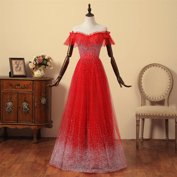 Red Wedding Ceremony Dress Short Illusion Sleeves Bridal Dress Sweetheart Neckline Silver Sequin Party Gown A-Line Graduation Dress,DR4574