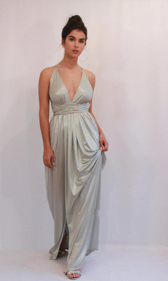 Bridesmaid Dress, Silver Maxi Dress, Long Dress, Evening Dress, Long Prom Dress, Formal Dress, Party Dress, Open Back Dress, Floor Length,DR4578