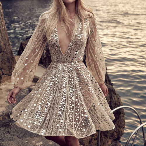 Beautiful Sequined Long Sleeve DressDR4582